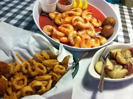 Bentonville, AR: calamari, boiled shrimp, new potatoes