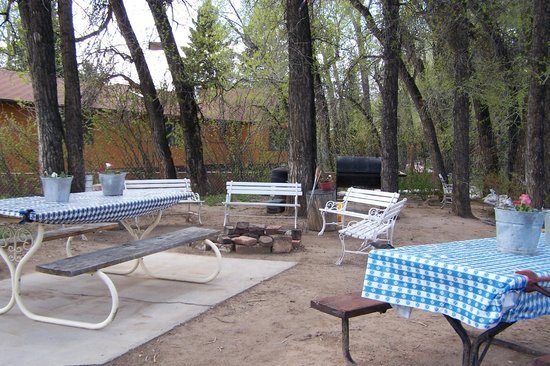 Dubois, WY: Picnic area by the river where we serve S'mores nightly.