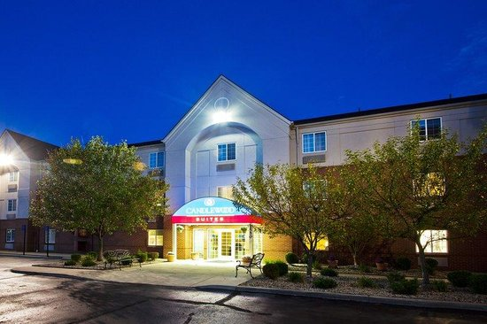 Candlewood Suites-Troy Hotel Exterior At Night.