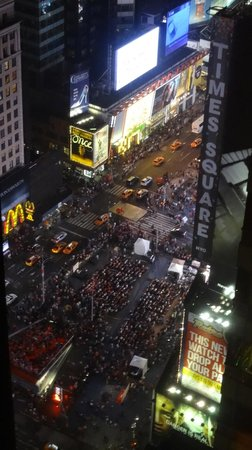 Crowne Plaza Times Square Manhattan: View to TS from my 44th floor room on Tony Awards night (big party happening there)
