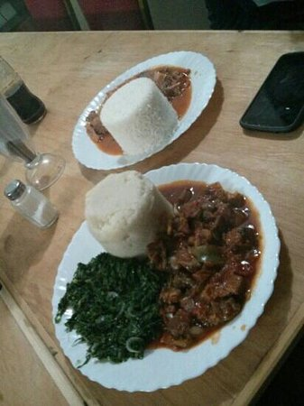 Hartebeest Camp and Guest House: meat stew, greens and ugali - 600 KES
