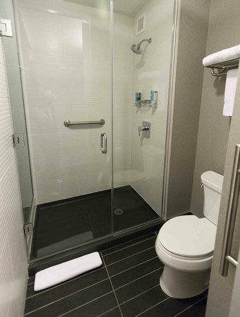 bathroom and shower you can see the soap  shampoo