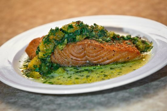 Harlingen, TX: Salmon Fillet with Citrus Green Sauce