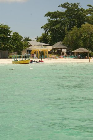 White Sands Negril: View of White Sands beach from a boat.