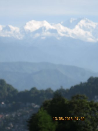Dekeling Hotel: view of snow-capped Kanchenjonga from the library/lounge on 1st Floor