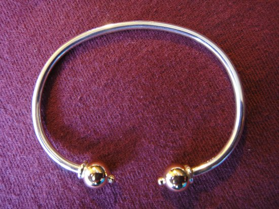 Silver Bracelet With Two Gold Balls Picture Of Eden Hand