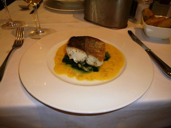 The Seafood Restaurant Accommodation: Hake in a beurre blanc sauce