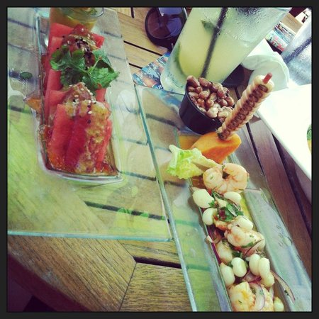 Cooked shrimp ceviche and sushi grade ahi tuna starters for Where to buy sushi grade fish nyc