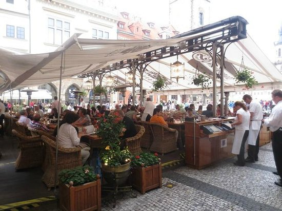 Very busy in the al fresco dining area picture of for Terrace u prince prague