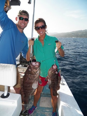 Double header groupers picture of deep drop fishing for Jamaica fishing charters