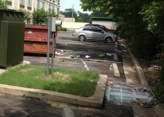 Wingate by Wyndham Cordova / Memphis: Filthy rear entrance to hotel.