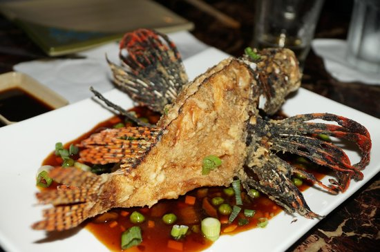 Deep fried whole lionfish in szechuan sauce picture of for Deep fried whole fish