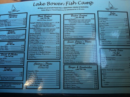 lake bowen fish camp inman restaurant reviews phone
