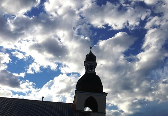 Hotel Pension Anna: Steeple on hotel after summer thunderstorm cleared