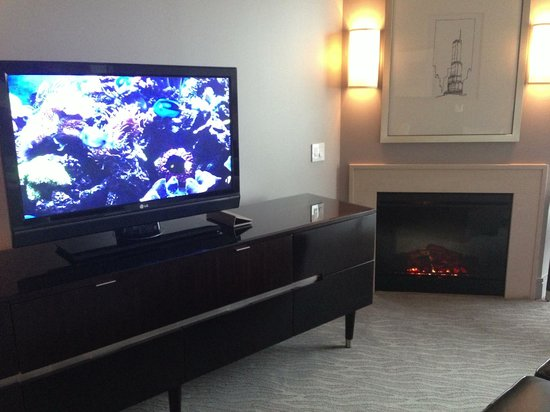 Trump International Hotel & Tower Chicago: Fireplace and TV in living room