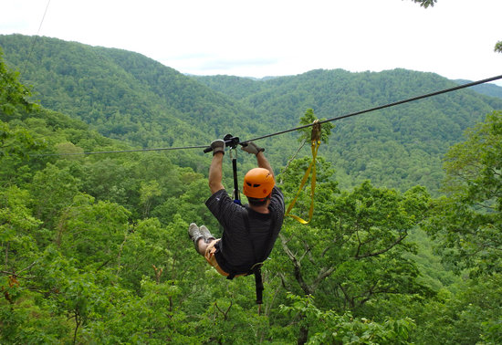 Saluda, NC: Enjoying the amazing views of the Green River Gorge from The Gorge Zip Line Canopy tours, which