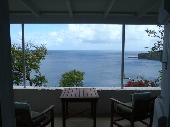 Guana Island: View from the porch of Barbados cottage