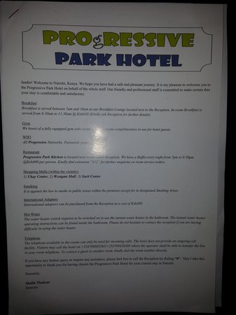 Progressive Park Hotel: Hotel Instructions Card