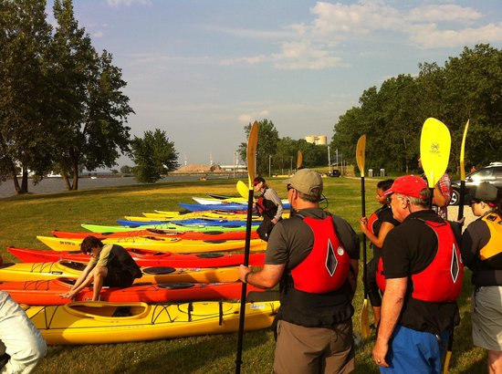 41 North Kayak Adventures: Getting ready to launch for a sunset tour.