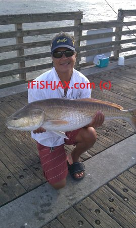 Red fish caught on jax beach pier jacksonville picture for Oceanside pier fishing reports