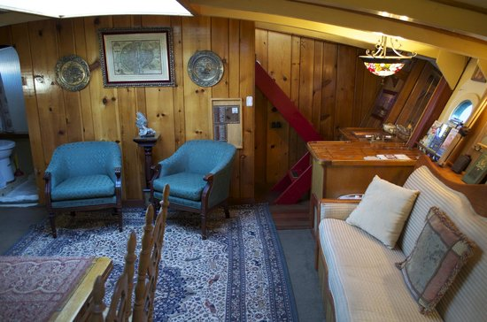 Wharfside Bed and Breakfast Aboard the Slowseason: Stairs from Main Salon up to Galley/Wheelhouse