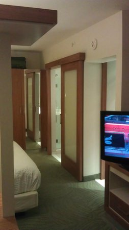 SpringHill Suites Columbus OSU: TV, two doors one to water closet, one to shower room, and the closet