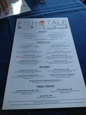 Menu side 1 from fish tale grill by merrick seafood for Fish tale grill
