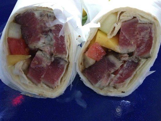 Tuna wrap from fish tale grill by merrick seafood for Fish tales cape coral