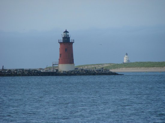 View of lighthouses from cape henlopen state park for Lewes delaware fishing report