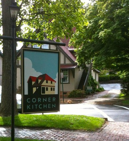View Of The Corner Sign In Front Of Restaurant