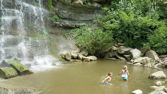 Some Kids Swimming Under The Falls Picture Of Rock Glen