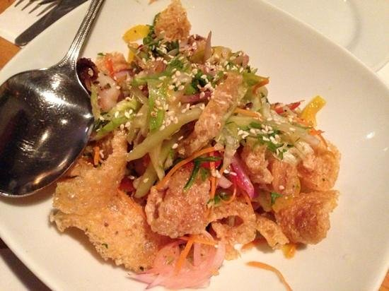 charred baby octopus salad with fried pork skins - Picture of The ...