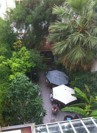 Hotel Liberty: The garden eating area from my second floor room