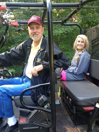 The Roost Bed and Breakfast: Andy taking us a ride on the mule around the pond
