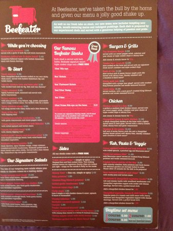Beefeater Drinks Price List