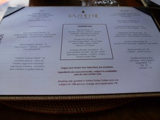 Dasheene Restaurant St Lucia Menu