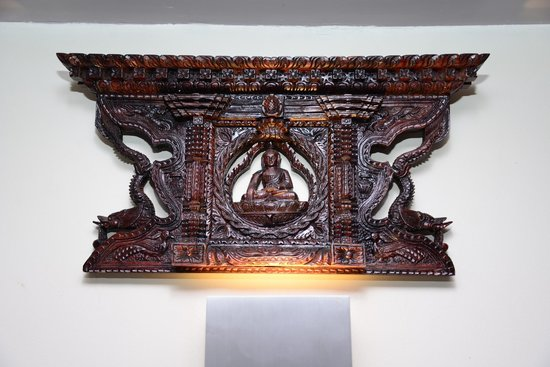 Brass table decor picture of gurkha village nepalese