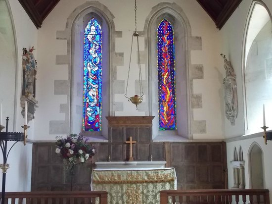 The beautiful stained glass windows in the Church