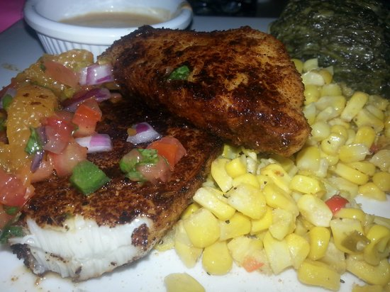 Fish Thyme: blackened sea bass, creamed spinach, fresh corn