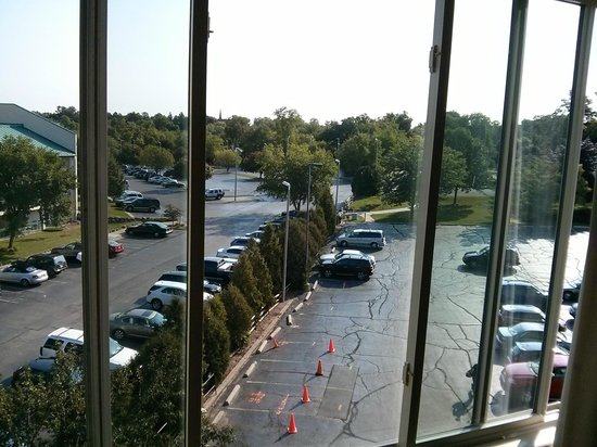 Harbor Shores on Lake Geneva: Looking out the window of a 4th floor 'park(inglot) side room'