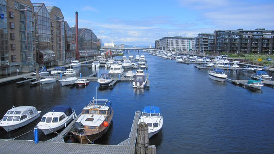 Radisson Blu Royal Garden Hotel, Trondheim: The hotel (left) has a lovely view of the river.