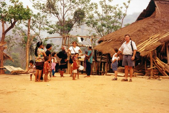 Dinner at a Karen hill tribe village during our trek with ...