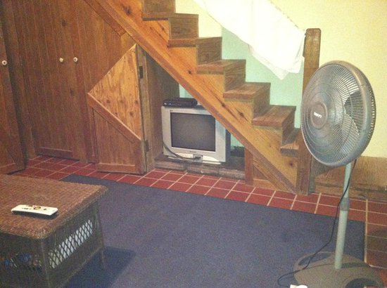 Sue's Place: TV under the stairs.