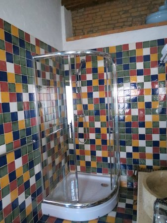 Casa Rozelor - boutique hotel: Snazzy tiles in the bathroom - Room 8