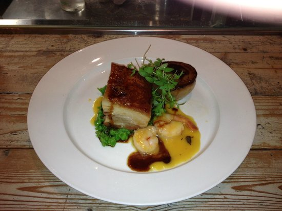 Pork belly with pea puree and buerre blanc prawns - Picture of The ...