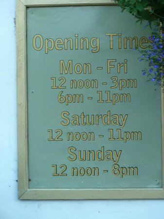 The Old Vine: Opening Times - important!