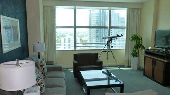 Conrad Miami: Photo of the living room--complete with telescope
