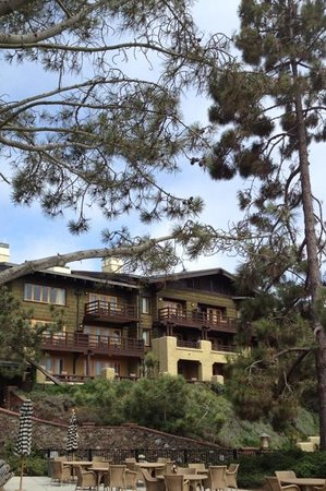 The Lodge at Torrey Pines: Back exterior of the property & poolside