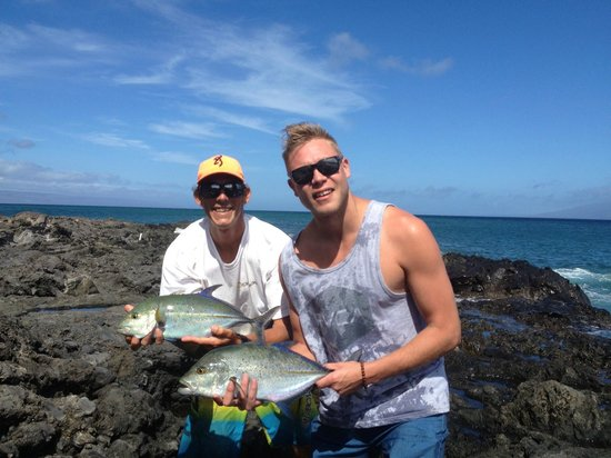Father son trip lai or leatherback jack picture of for Shore fishing maui