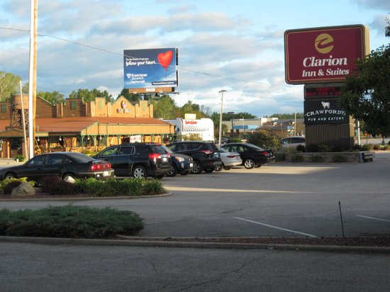 Clarion Inn Michigan City: Right across the street there's a Texas Corral -- or a Steak and Shake